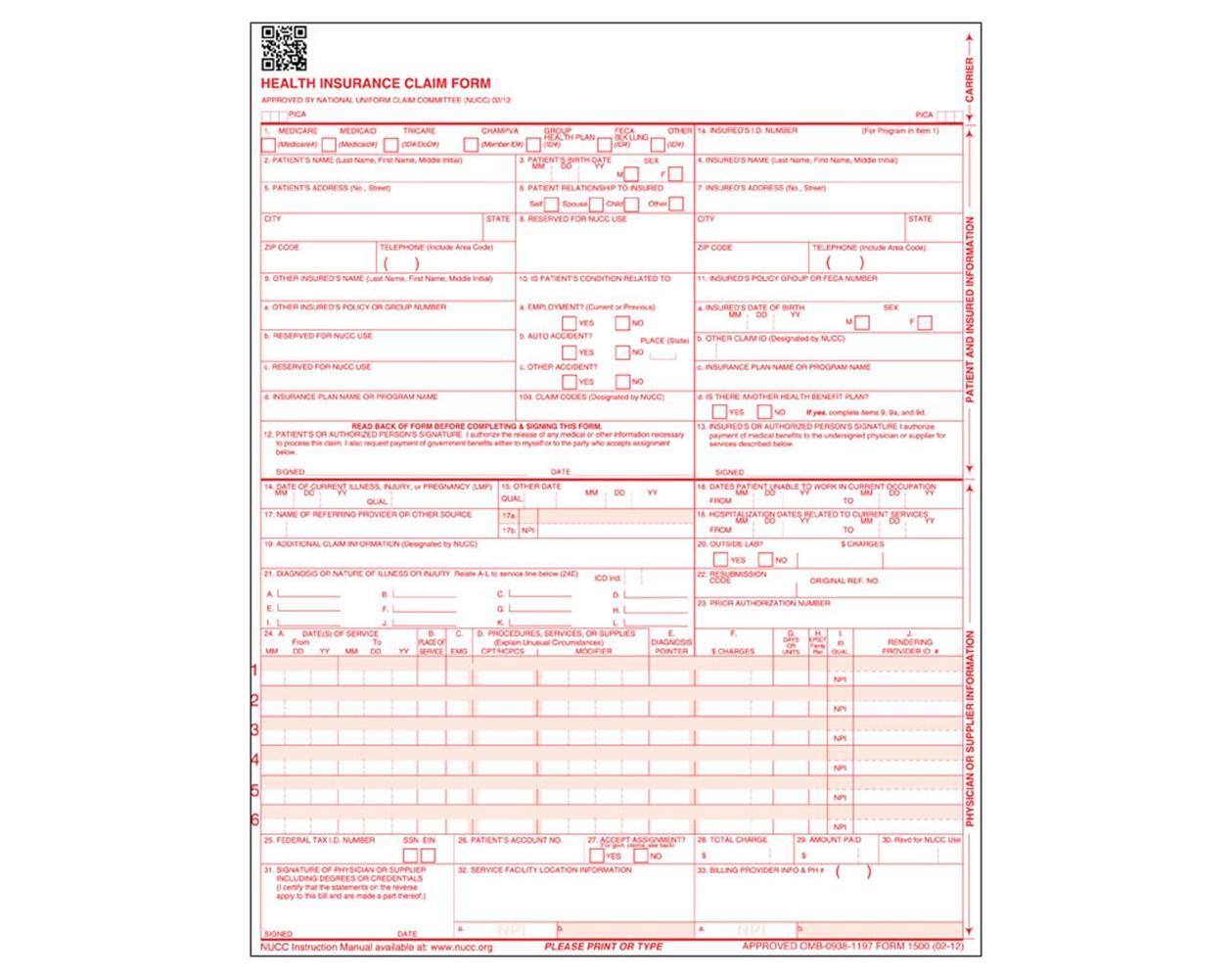 Hcfa 1500 Claim Form Printable