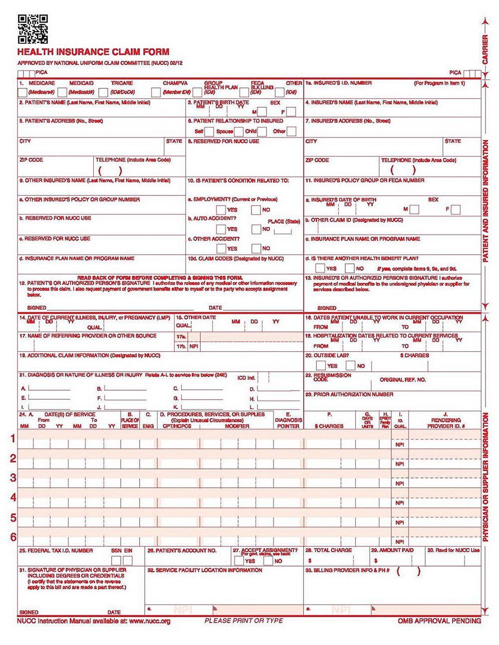 Hcfa Claim Form 2018