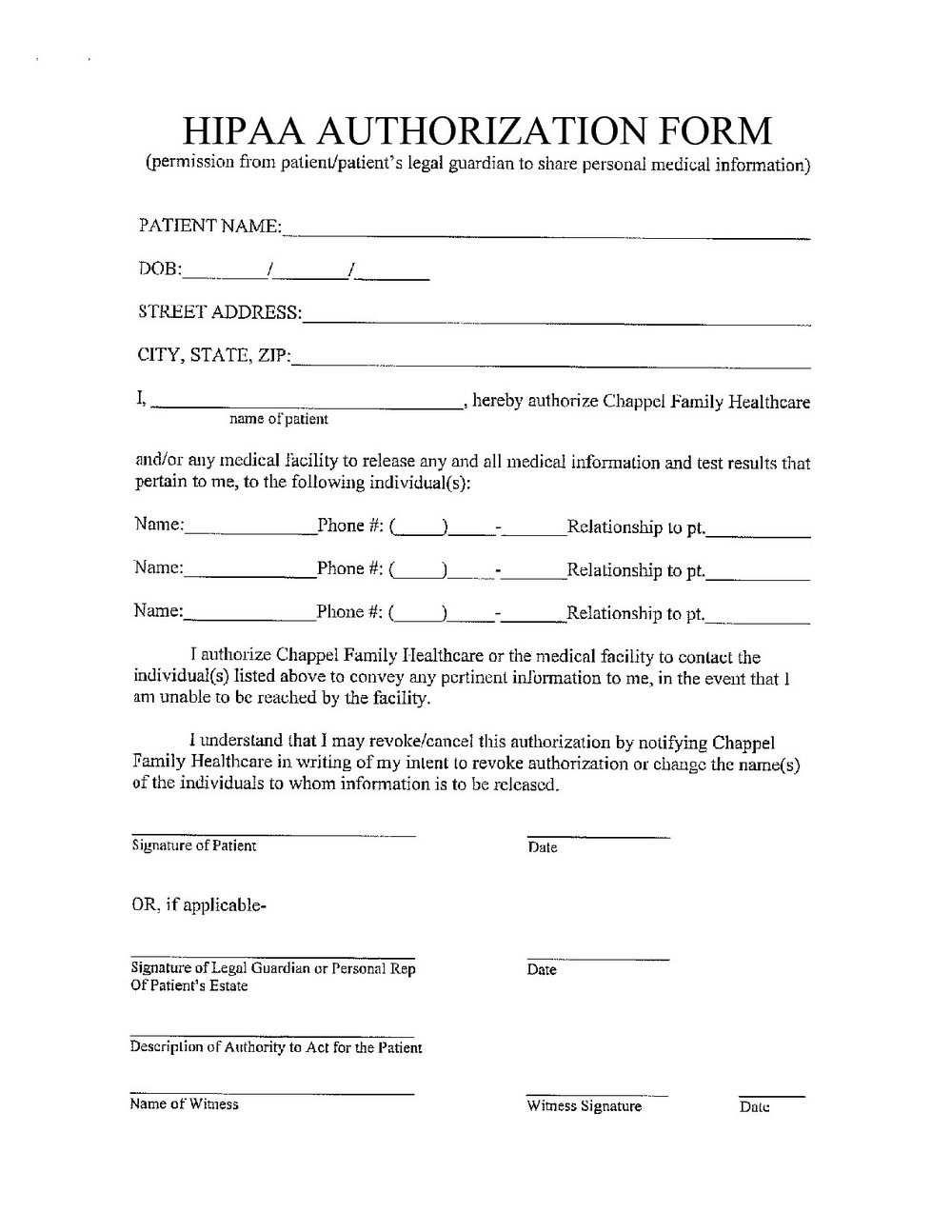 Hipaa Compliance Forms For New Patients
