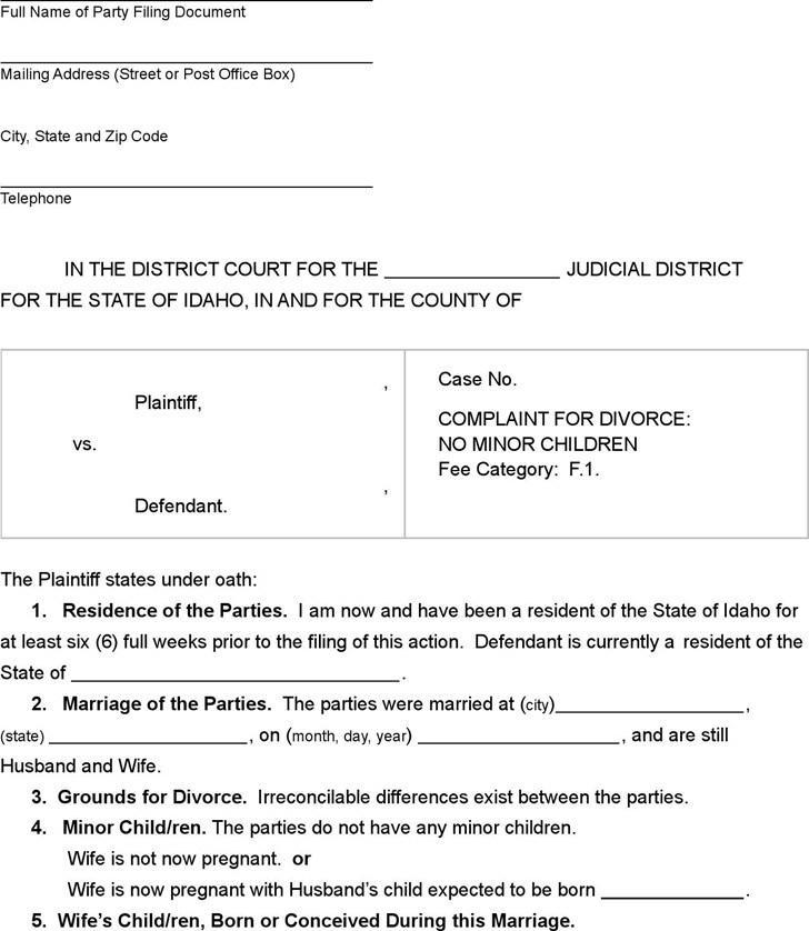 Idaho Divorce Paperwork