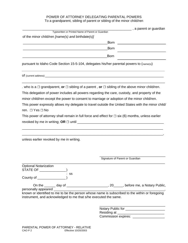 Idaho Parental Power Of Attorney Form