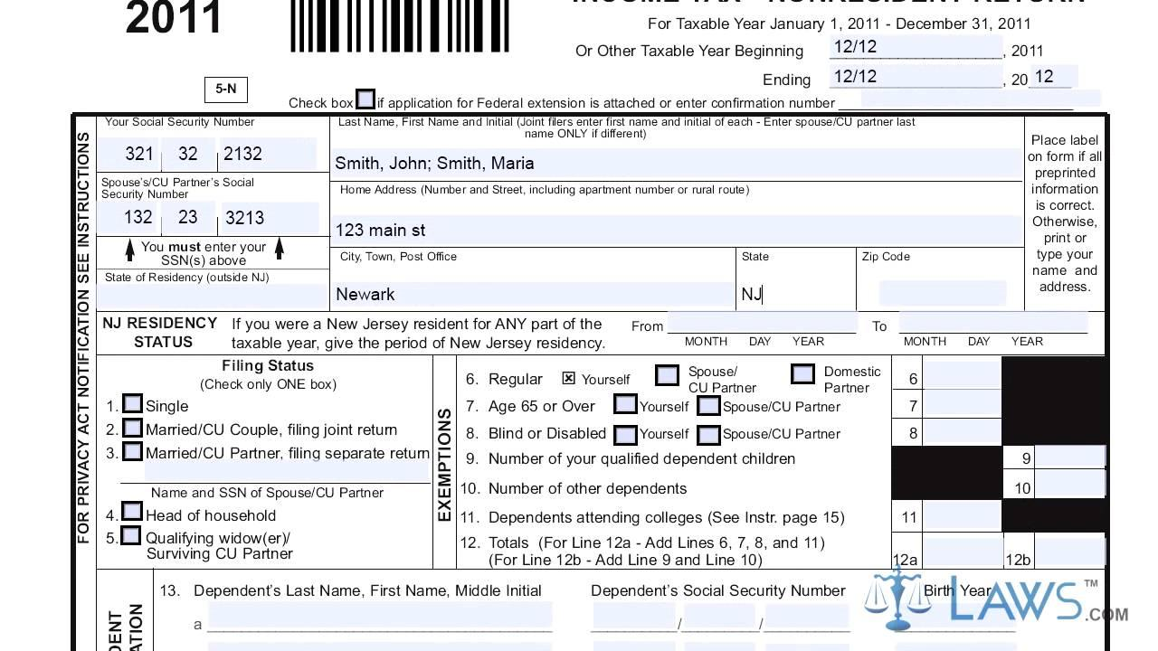 Income Tax Form 1040nr