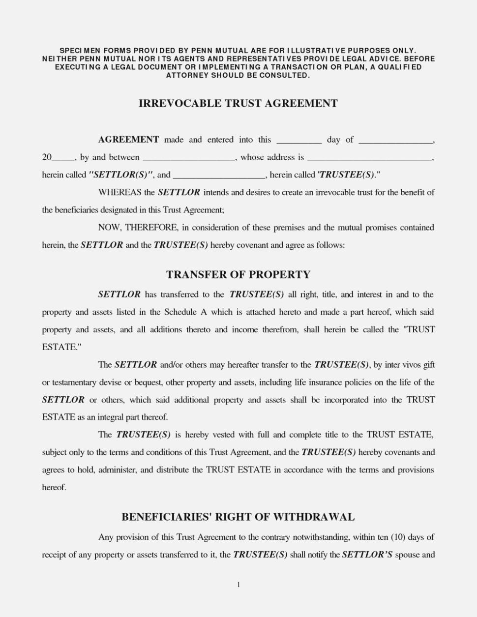 Irrevocable Medicaid Trust Form
