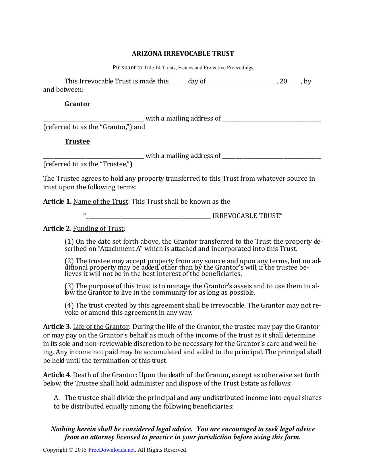 Irrevocable Trust Document Example