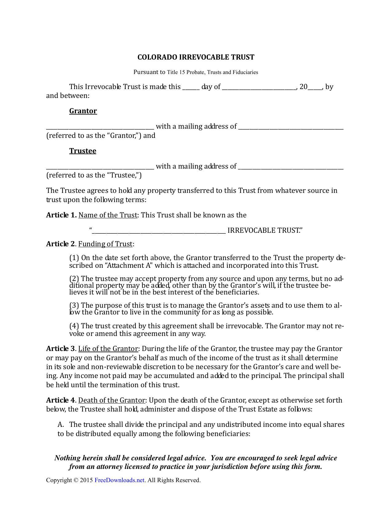 Irrevocable Trust Form Colorado