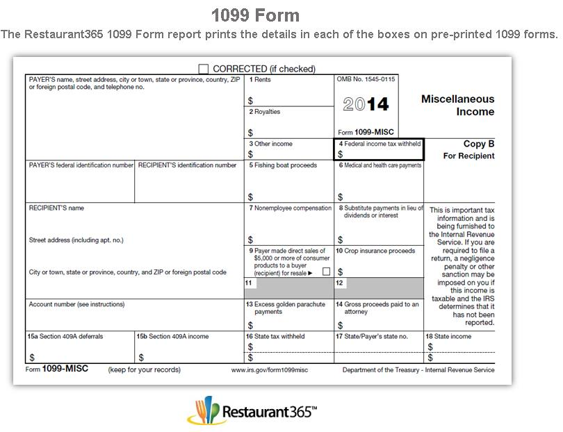 Irs 1099 Form 2014 Printable Free