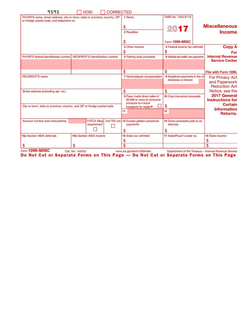 Irs 1099 Form 2017 Fillable