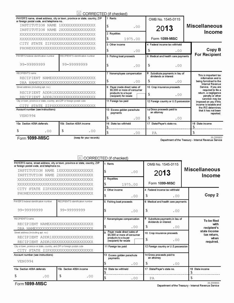 Irs 1099 Misc Tax Forms
