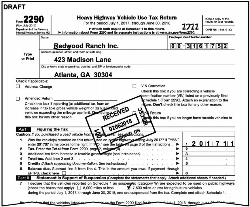 Irs Form 2290 Tax Table