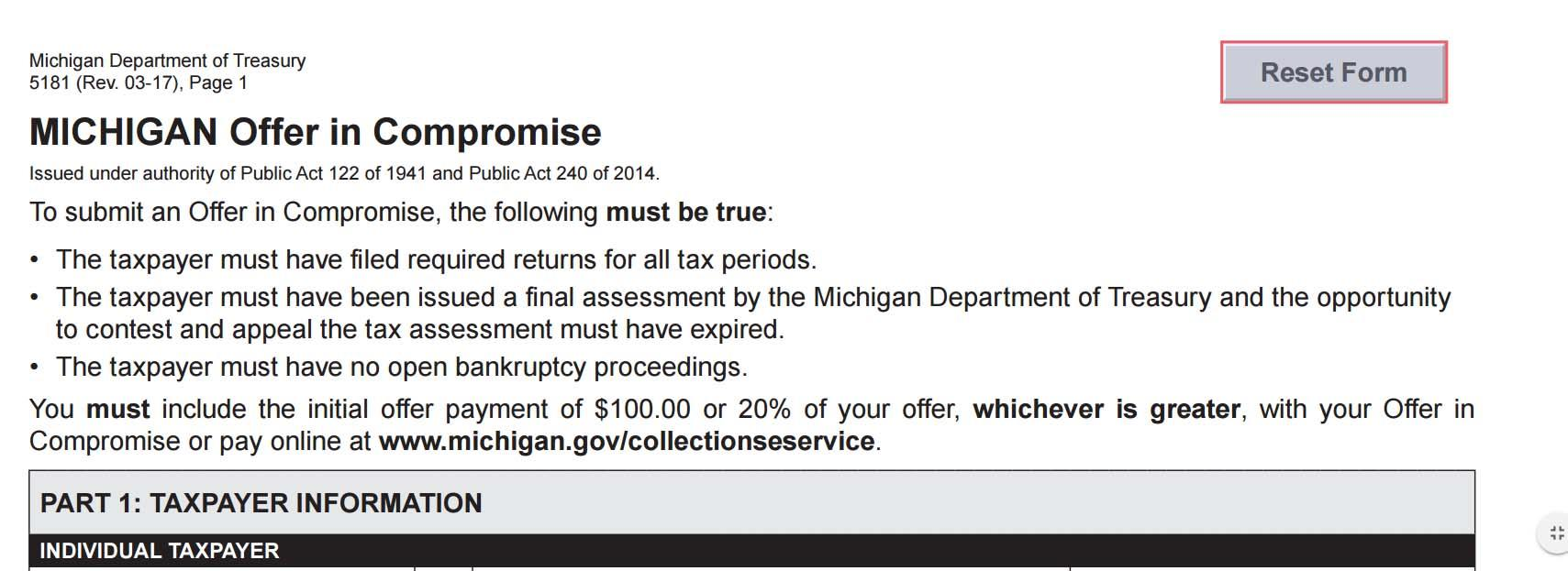 Irs Form Offer In Compromise Instructions