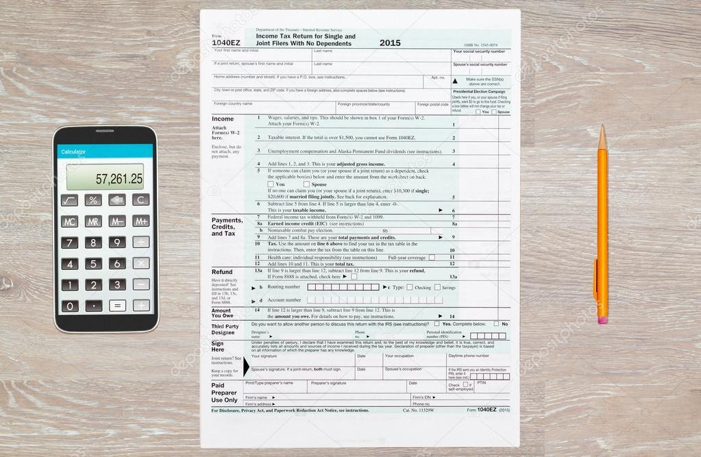 Irs Tax Form 1040ez 2015