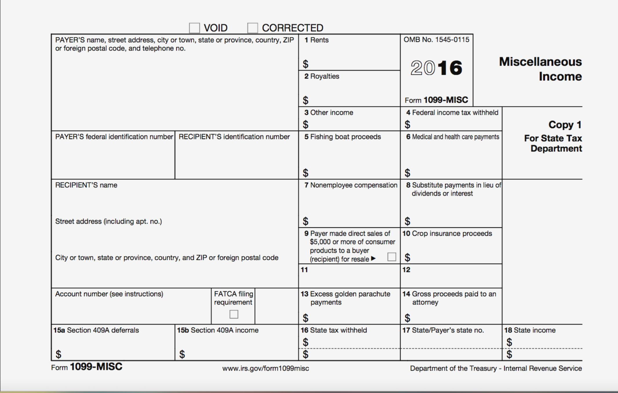Irs Tax Form 1099 Misc 2017