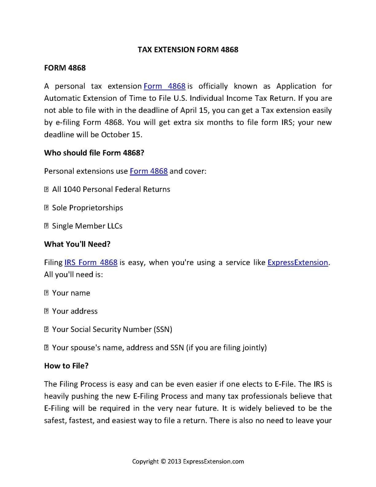 Irs Tax Form 4868 Online