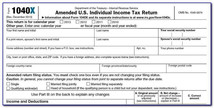 Irs.gov Form 1040x 2014