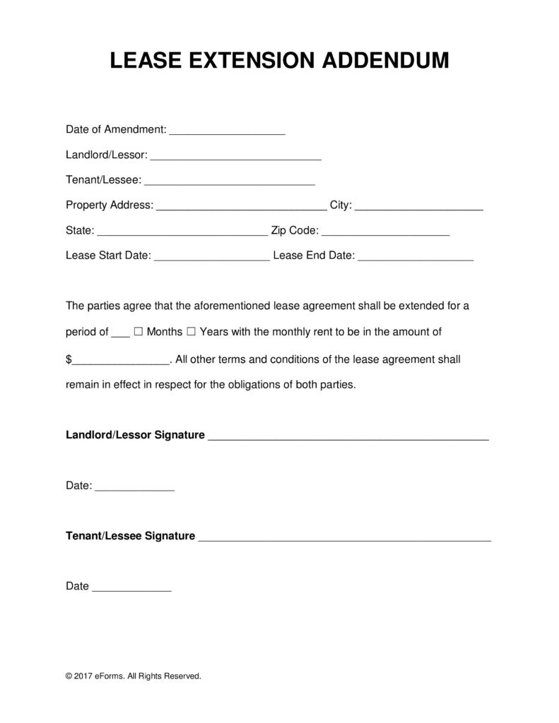 Lease Extension Form California