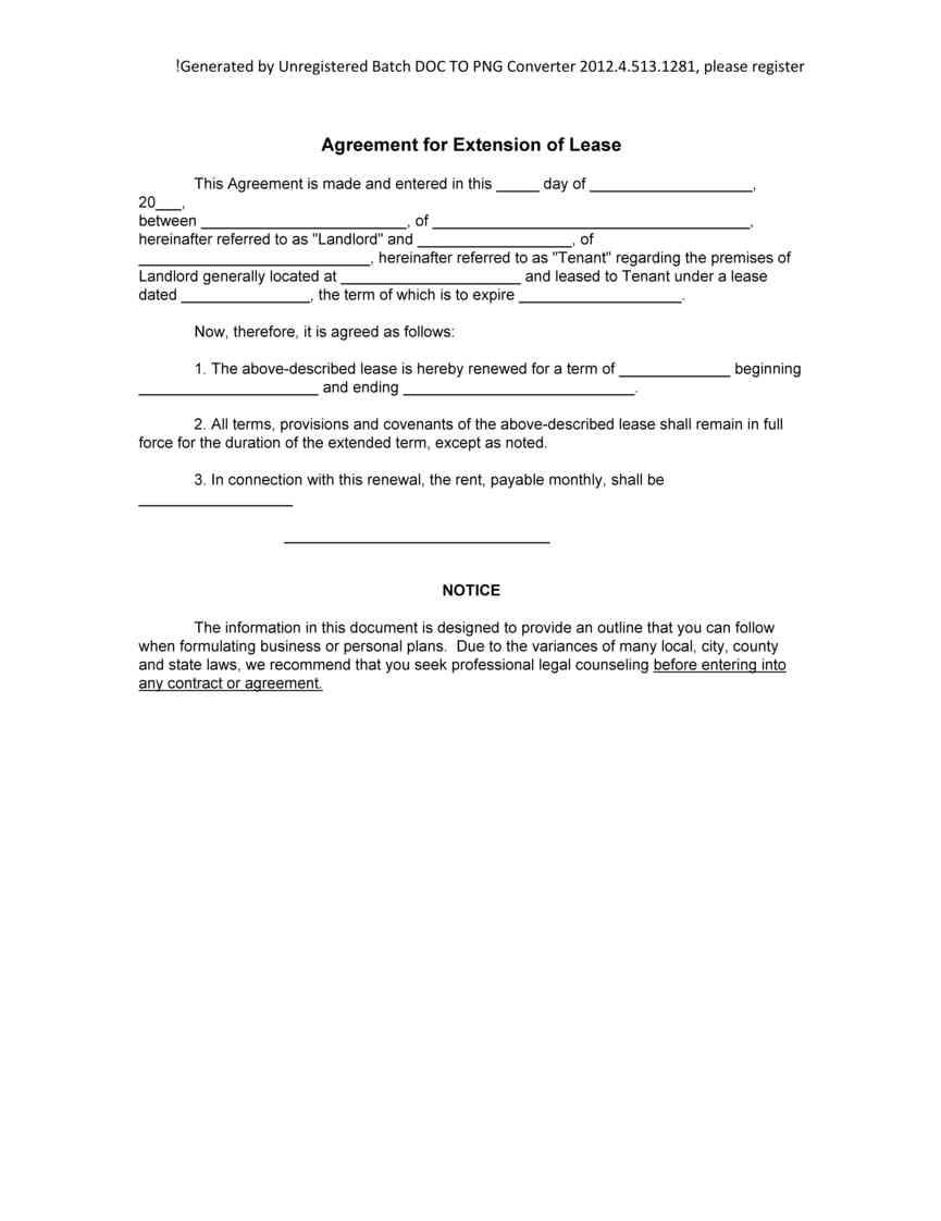 Lease Extension Form Ontario
