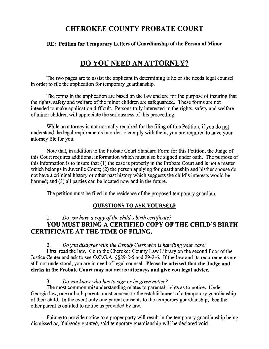 Legal Guardianship Forms Ga
