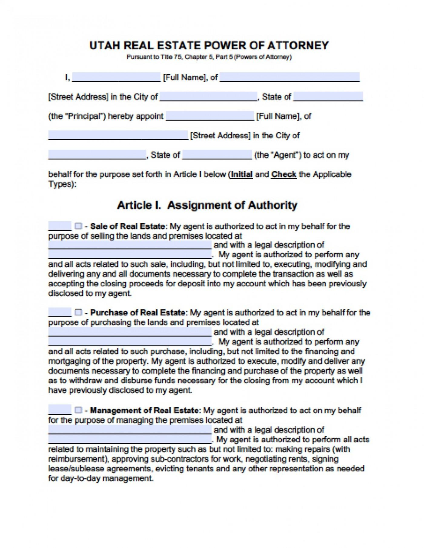 Legal Power Of Attorney Form Utah