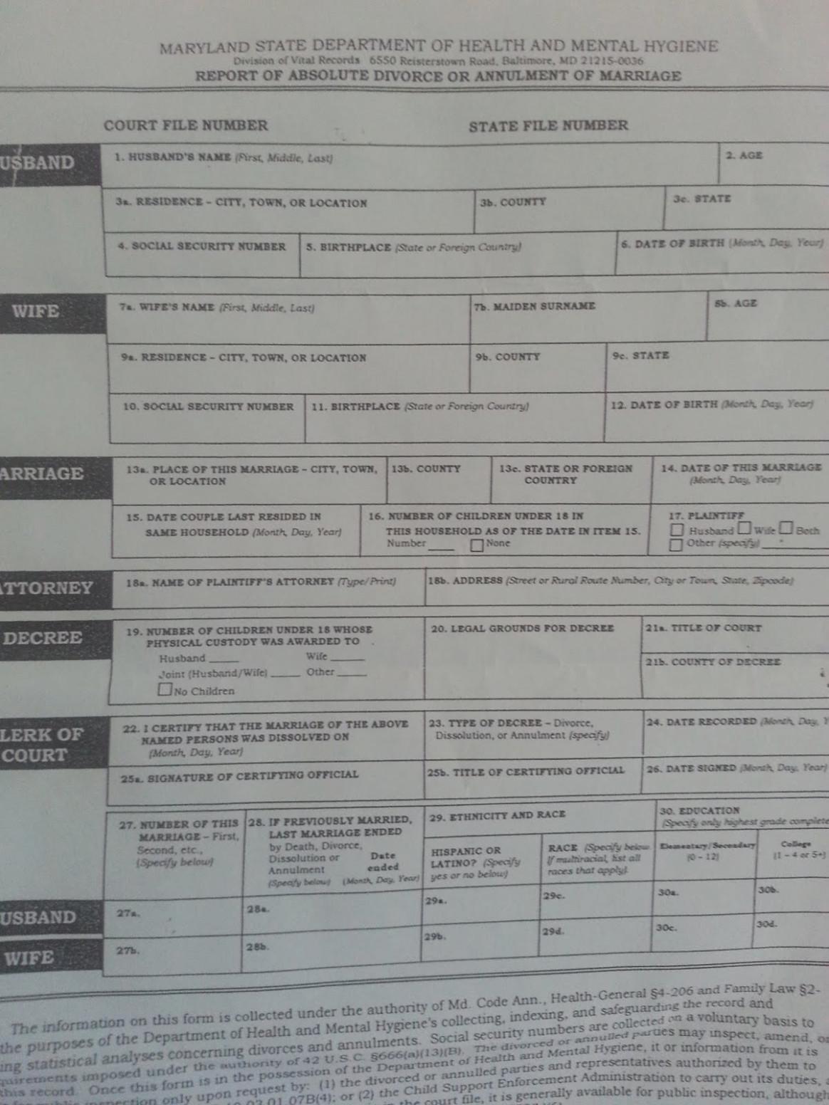 Md Divorce Forms Online