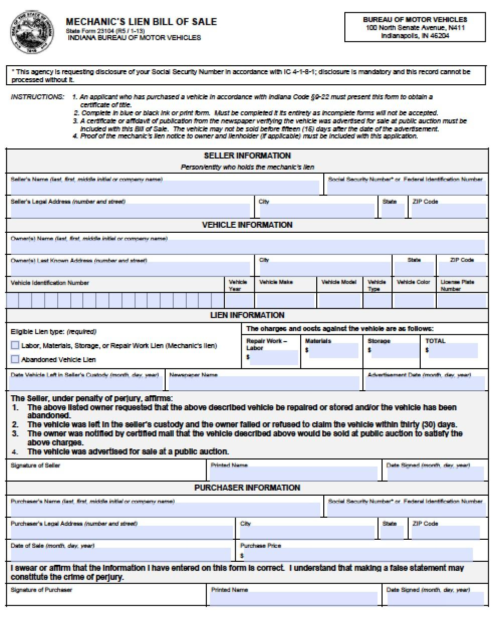 Mechanic Lien Form Pdf