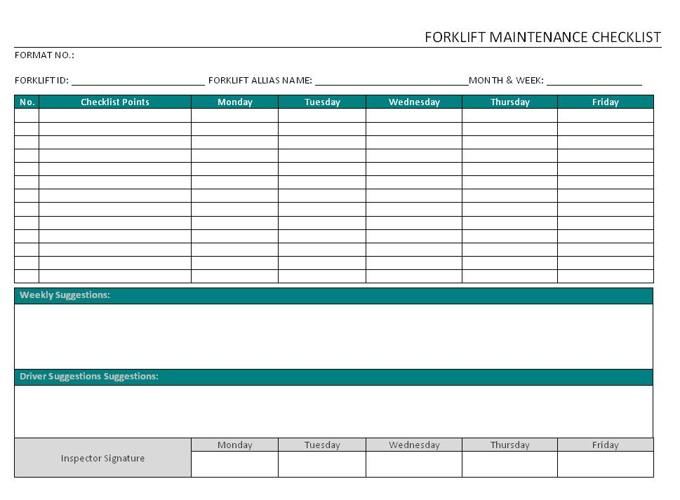 Monthly Forklift Inspection Form Pdf