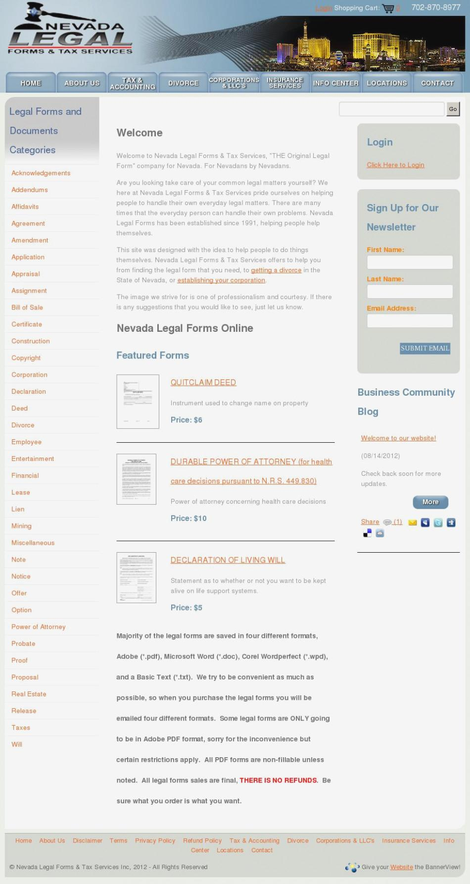 Nevada Legal Divorce Forms