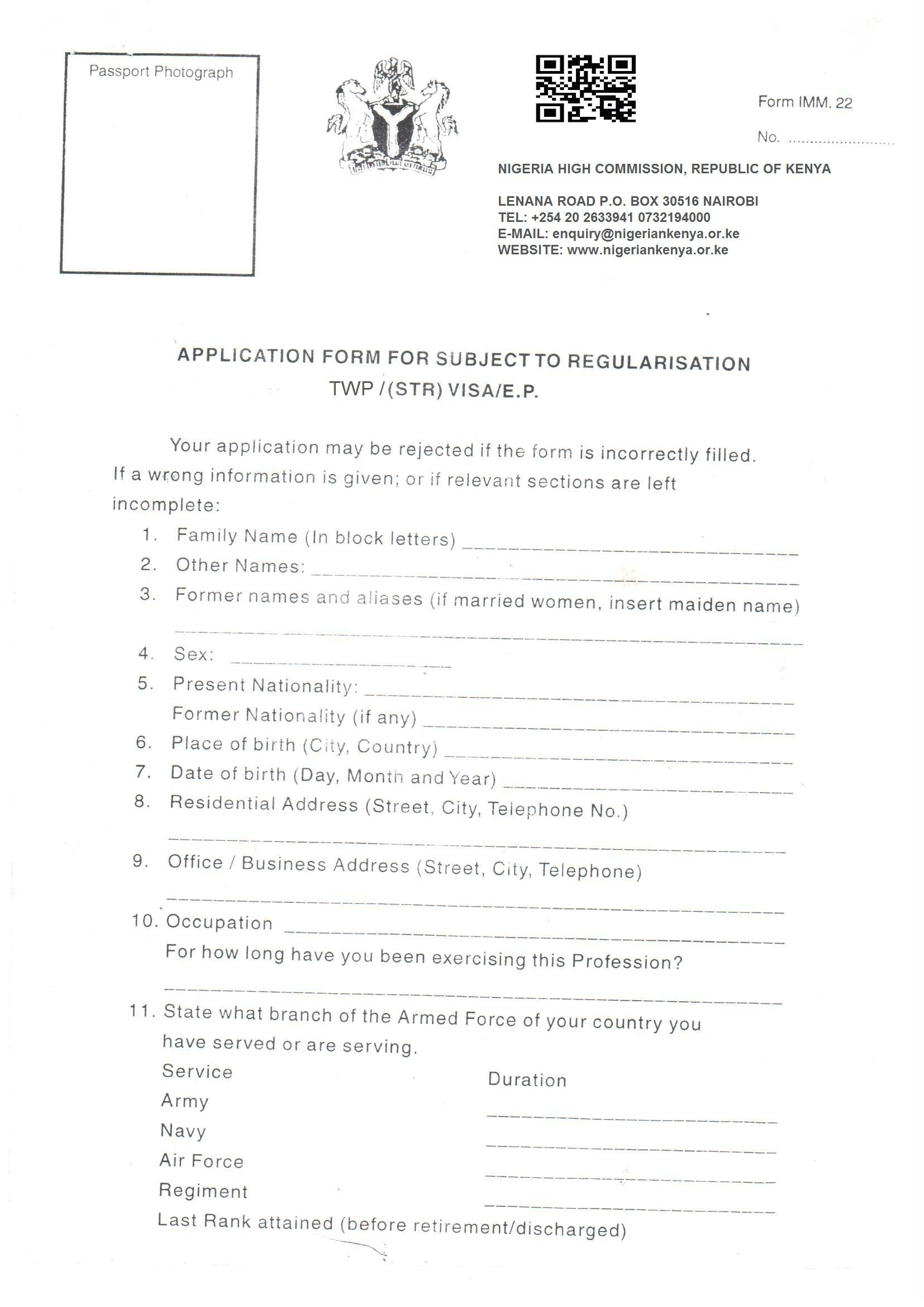 Nigerian Visa Application Form From India