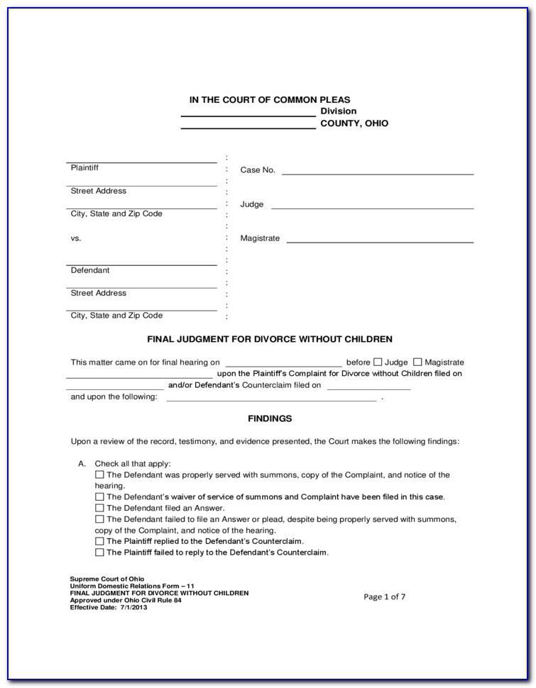 Ohio Divorce Forms