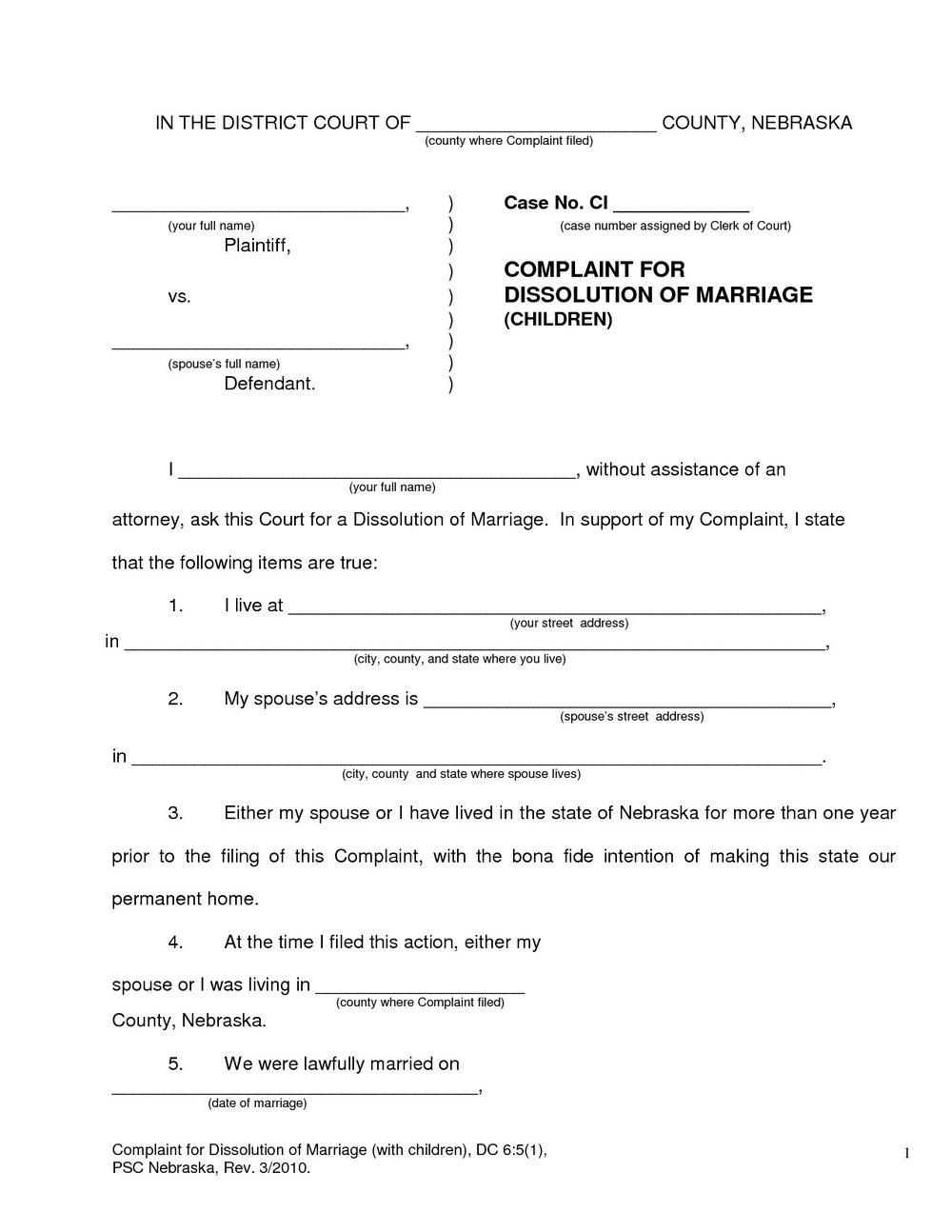 Oklahoma Divorce Forms With Minor Child