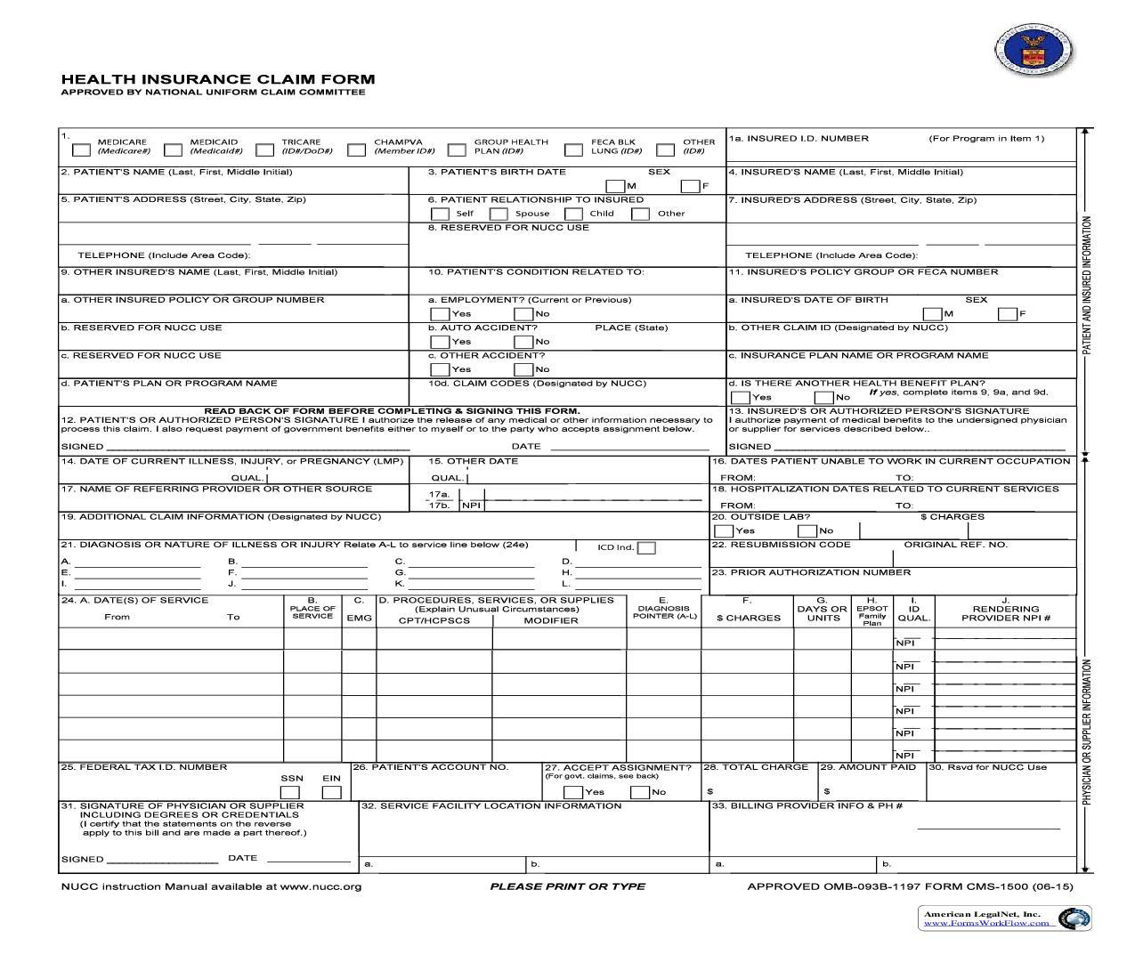 Owcp 1500 Health Insurance Claim Form