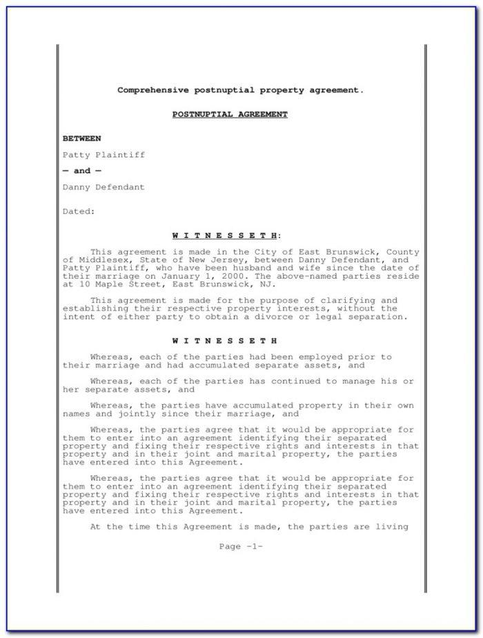 Postnuptial Agreement Form Washington State