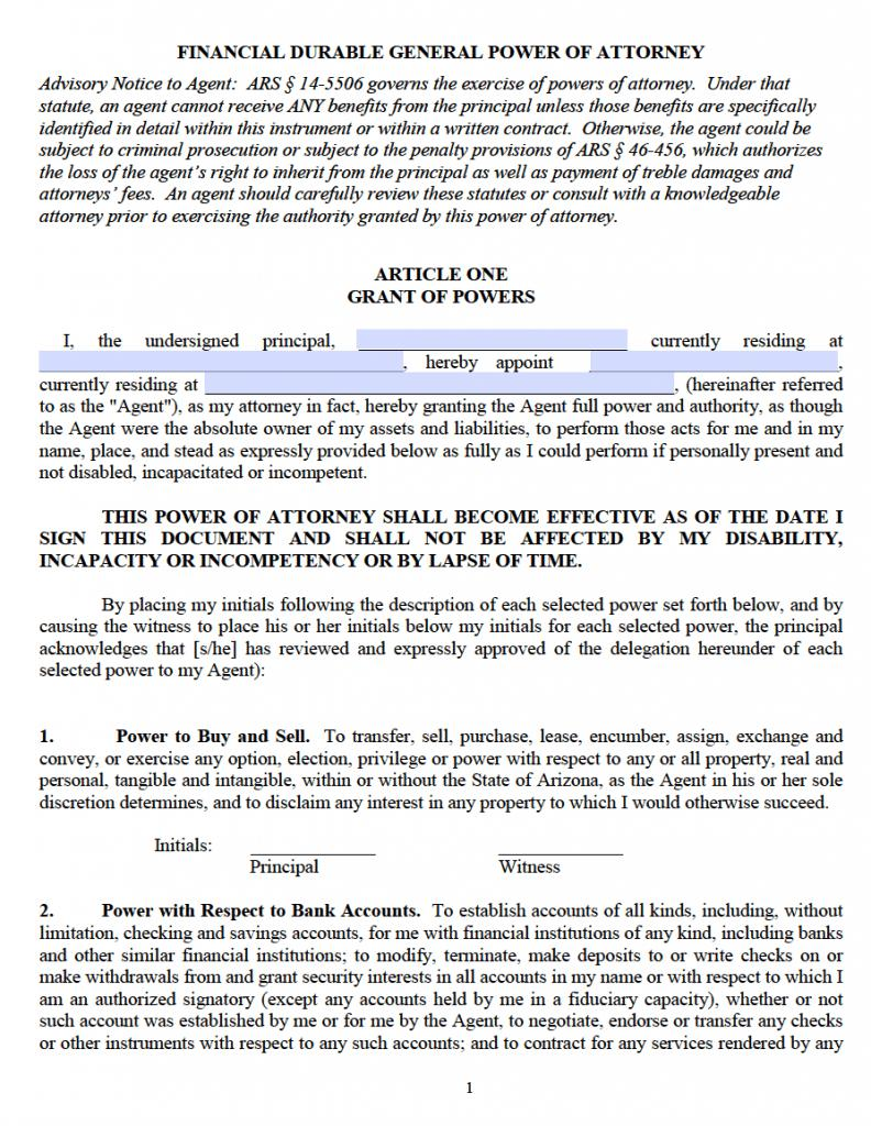 Power Of Attorney Form Cochise County Az