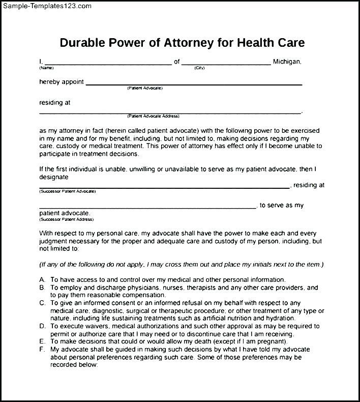 Printable Durable Power Of Attorney Form New York