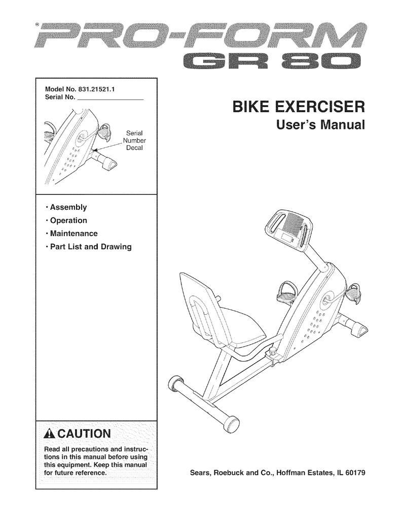 Proform Bike Manual