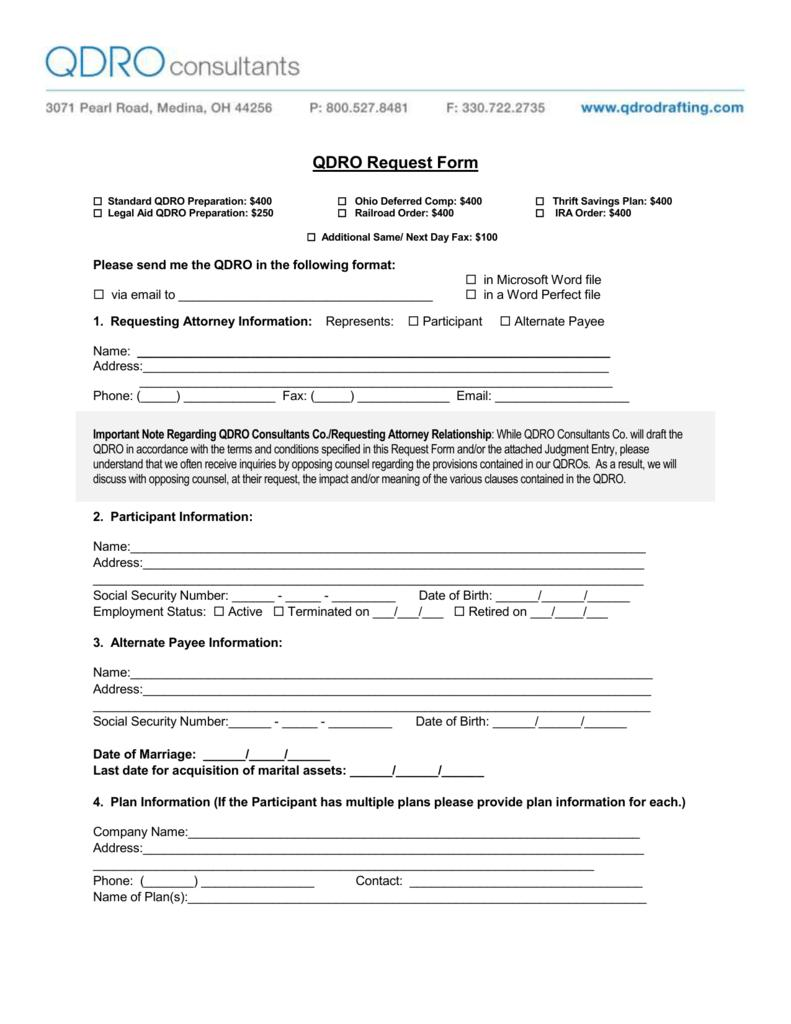 Qualified Domestic Relations Order Form Arizona
