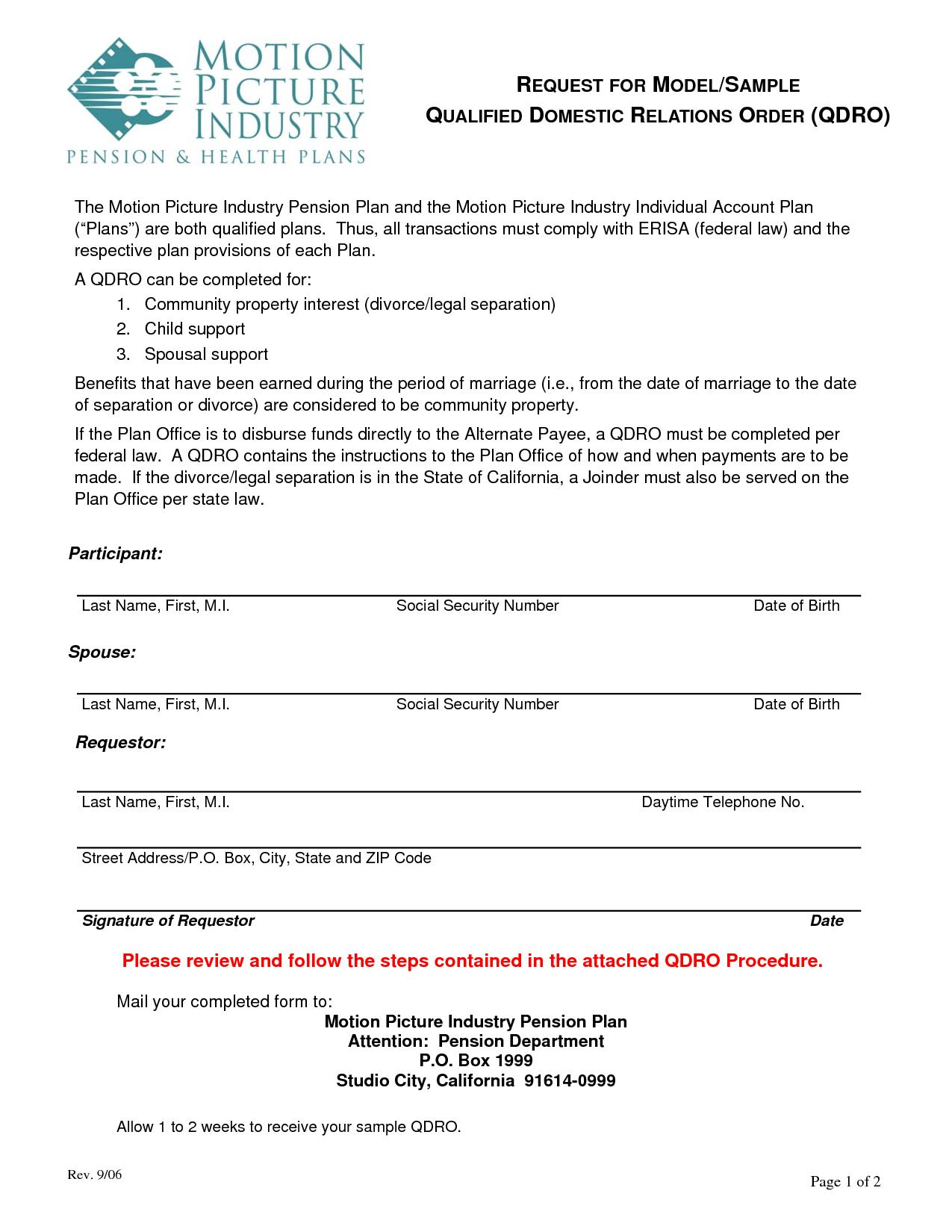 Qualified Domestic Relations Order Form New Jersey