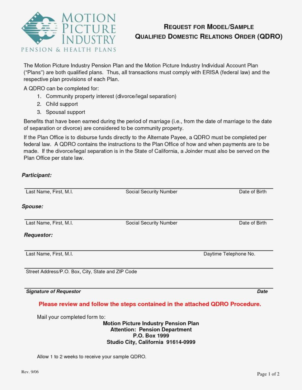 Qualified Domestic Relations Order Form Texas