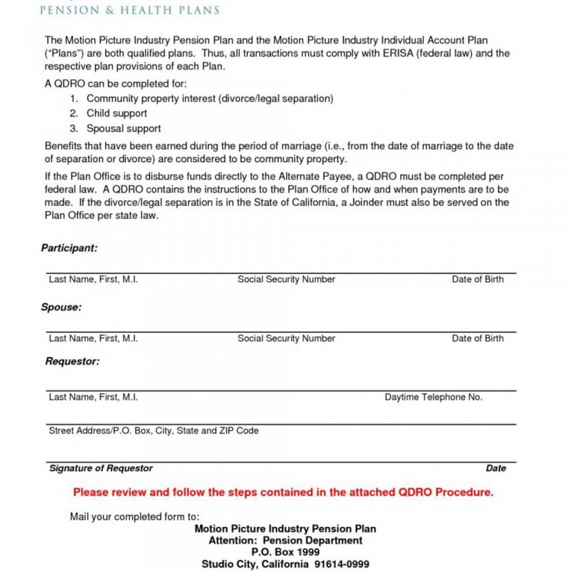 Qualified Domestic Relations Order Form Washington State