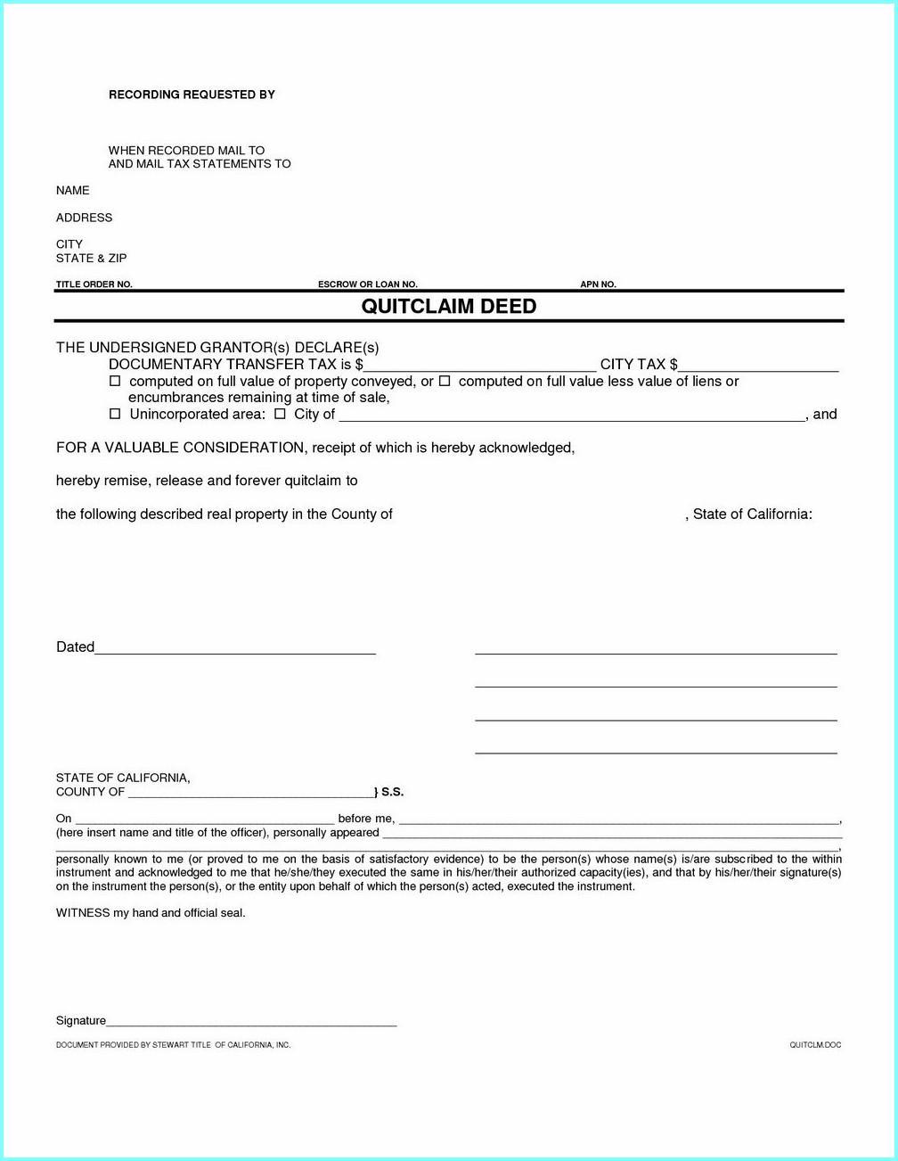 Quit Claim Deed Form California Orange County