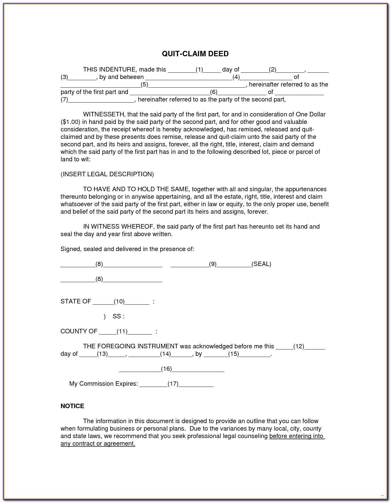 Quit Claim Deed Form Florida Orange County