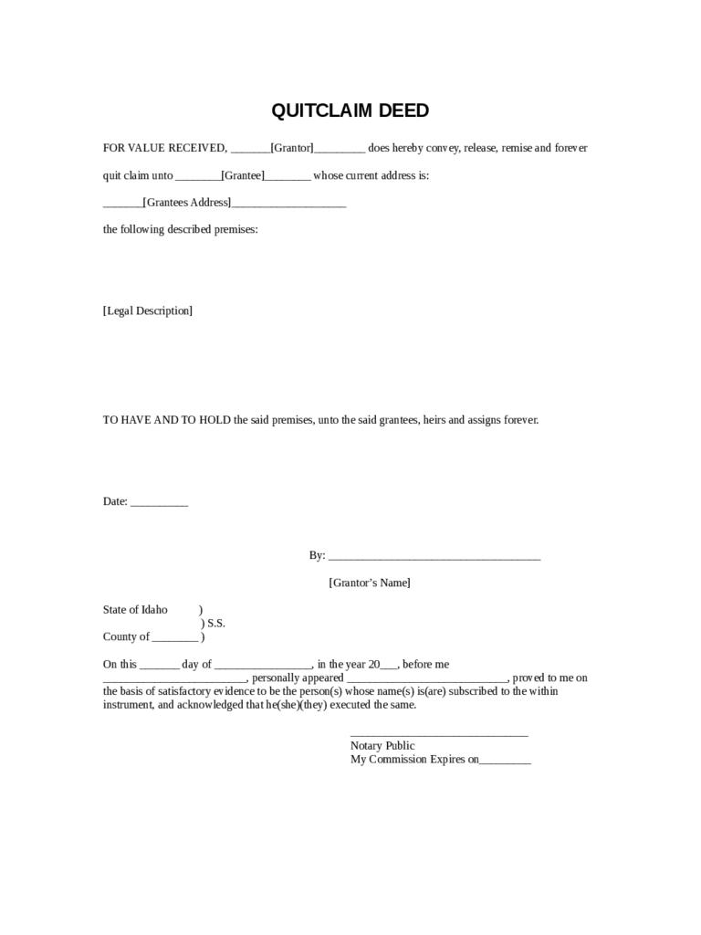 Quit Claim Deed Form Florida Template
