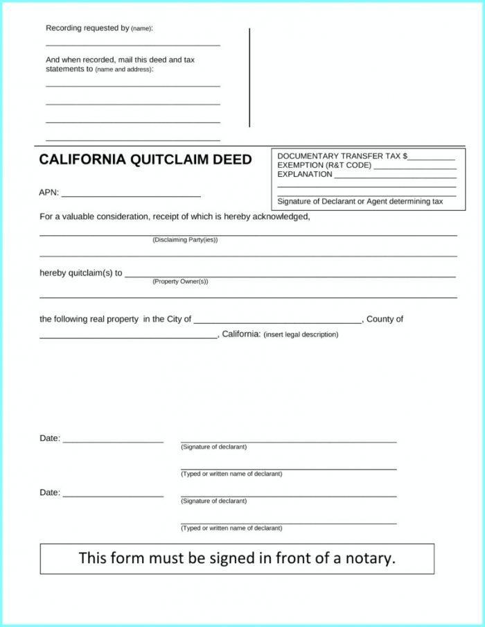 Quit Claim Deed Form San Diego California