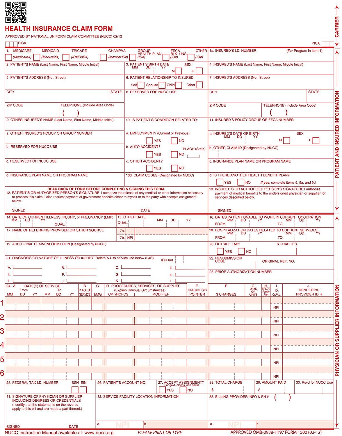 Revised Cms 1500 Health Insurance Claim Form 08 05