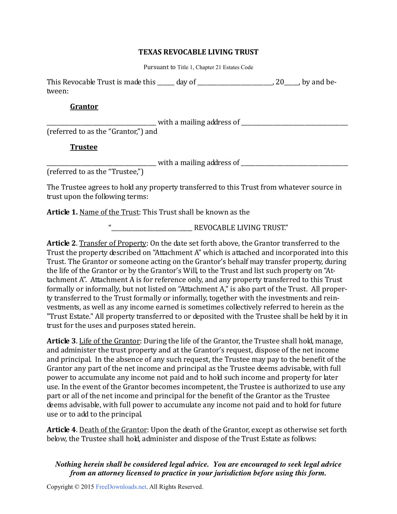 Revocable Trust Form Texas