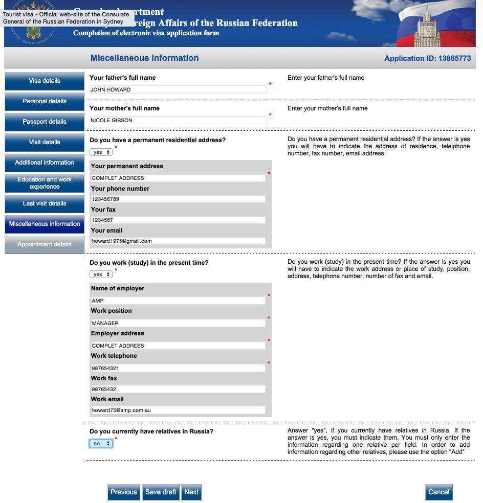 Russian Visa Application Form For Malaysian