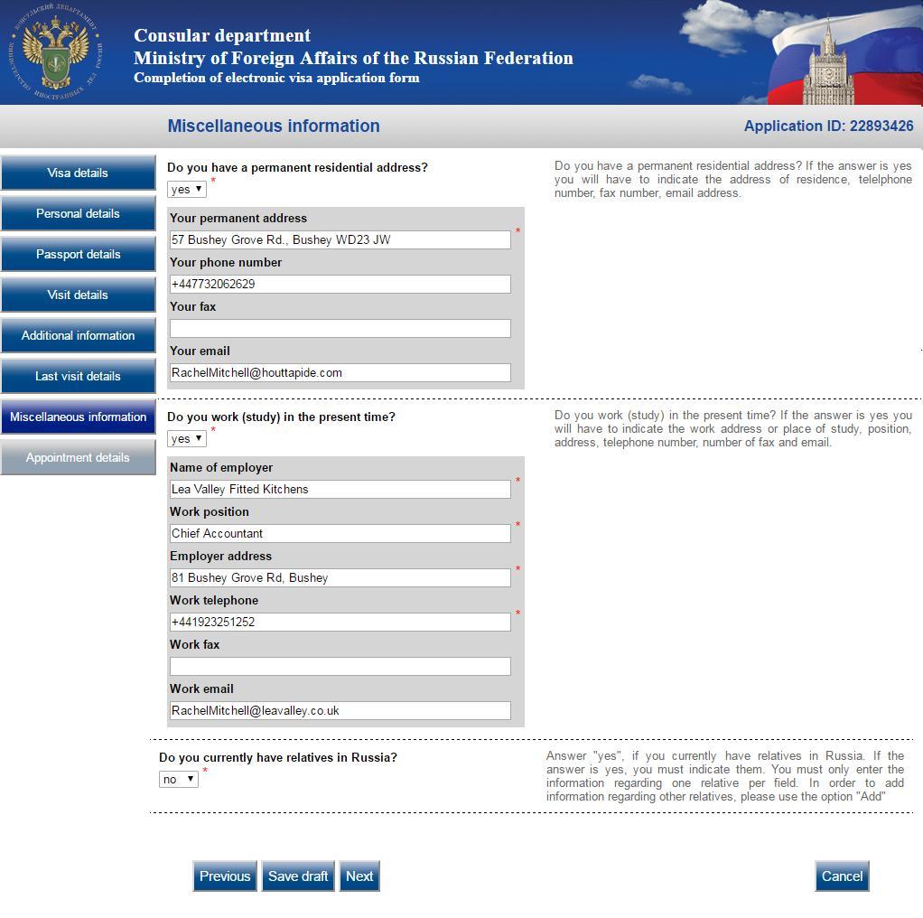 Russian Visa Application Form Ireland