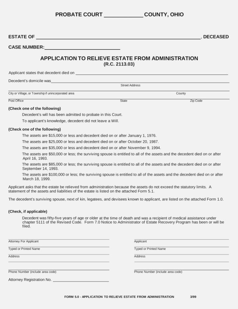 Small Estate Affidavit Form Indiana