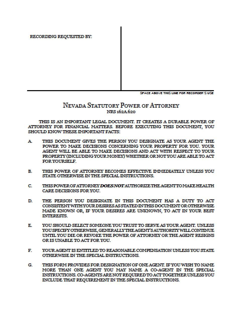 Special Power Of Attorney Form Nevada