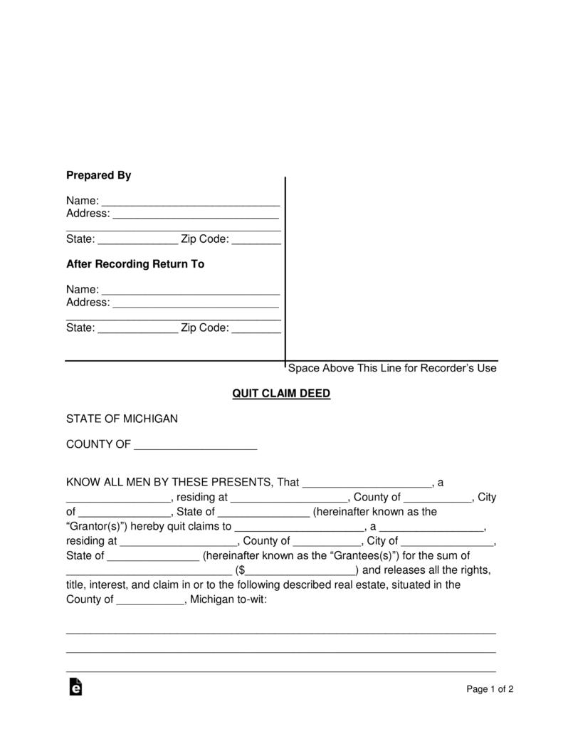 State Of Michigan Quit Claim Deed Form Wayne County