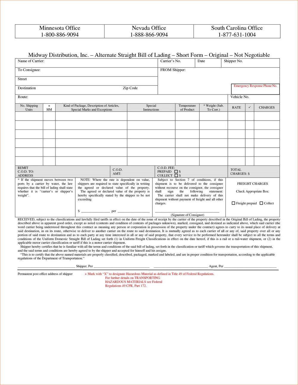 Straight Bill Of Lading Short Form A B3876
